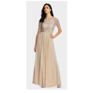 ADRIANNA PAPELL SEQUIN LACE BODICE & CHIFFON GOWN